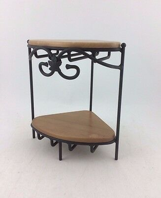 Longaberger Wrought Iron Small Corner Counter Top Stand w Marked Wood Shelves