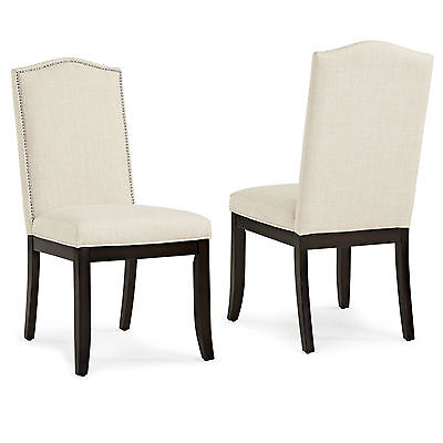 "Pack of 2 ""Jazz"" Fabric Upholstered Side Dining Chair w/ Stud Trim by !nspire"