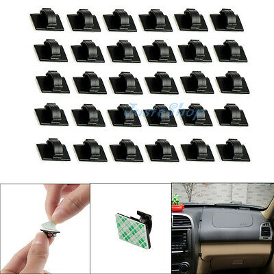 30Pcs Car Wire Tie Rectangle Cable Holder Mount Clip Clamp Self-adhesive Black