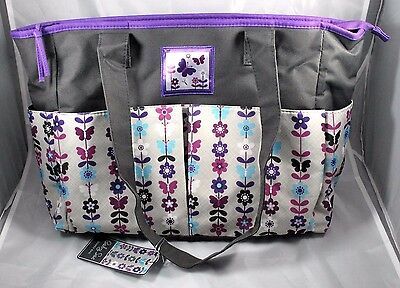 NEW  Baby Sac Large Diaper Bag with Changing Pad & Wet Pack Gray Purple Flowers