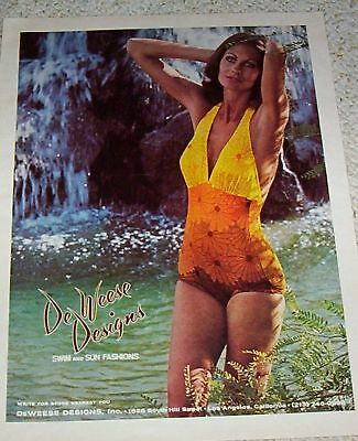 1975 vintage ad - DeWeese Designs swim sun Swimsuit Lady PRINT ADVERT