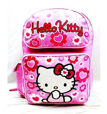 "Sanrio Hello Kitty Fullbody Star 12/"" Canvas Pink Grils Medium School Backpack"