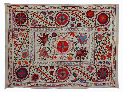 Fine Uzbek Hand Embroidery Silk On Cotton Suzani From Bukhara Ram-76