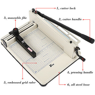 """New Heavy Duty Guillotine Paper Cutter - 17"""" Commercial Metal Base A4 Trimmer"""