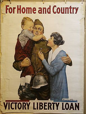 WW1 VICTORY LIBERTY LOAN For HOME And COUNTRY poster 1918 30 X 40
