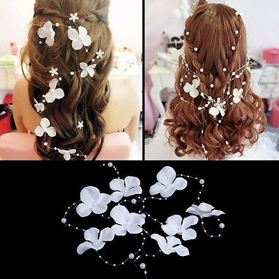 White flower crystals Pearls Beads Bridal Wedding Headpiece Hair Accessories