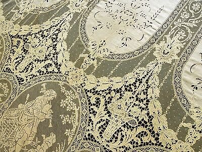 BEST EVER 1920 FRENCH Mixed Lace COVERLET Bedspread CURTAIN DRAPERY PANEL 84x104