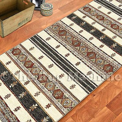 ETERNITY BEIGE AZTEC TRIBAL MEX DESIGN MODERN FLOOR RUG RUNNER 80x300cm **NEW**