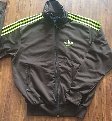 Adidas VTG Brown and Green Track Jacket Size SMALL Neon Sz S