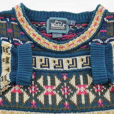 VINTAGE Woolrich Multi-Color 100% Cotton Sweater Men's Large L MADE IN USA
