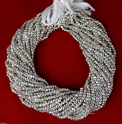 """2 Strand Silver Pyrite Faceted Gemstone Rondelle Beads 3.5-4mm Bead 13.5"""" Long"""