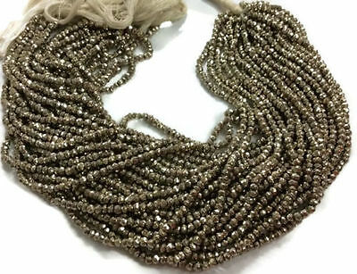 """2 Strand Steel Pyrite Faceted Rondelle Gemstone Beads 3.5-4mm Bead 13.5"""" Long"""