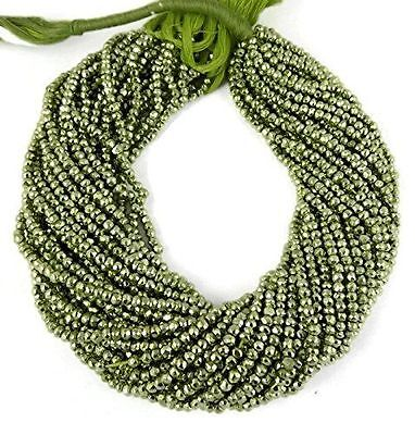 """2 Strand Green Pyrite Gemstone Faceted Rondelle Beads 3.5-4mm Bead 13.5"""" Long"""