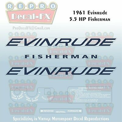 1965 Evinrude 3 HP Lightwin Outboard Repro 6 Pc Vinyl Decal 3502-03-12-32-33