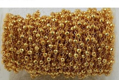 5 Feet Gold Pyrite Rosary Chain 24k Gold Plated 3.5-4mm Faceted Beaded Chain