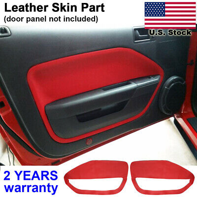 2pcs Leather Door Panel Card Cover Kit For Ford Mustang 2005-2009 RED