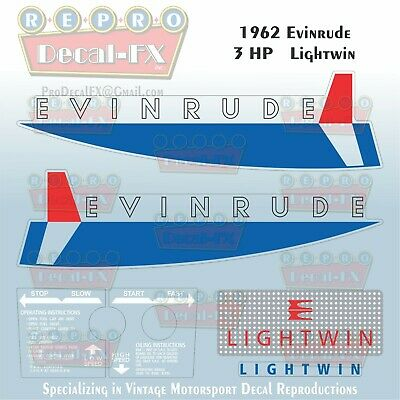 1962 Evinrude 3 HP Lightwin Outboard Reproduction 6 Pc Vinyl Decals 3042-43-44