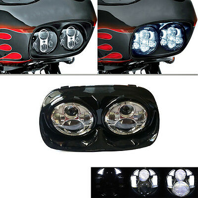 Harley Dual LED Headlight Projector Daymaker Lamp 1998~2013 Touring Road Glide