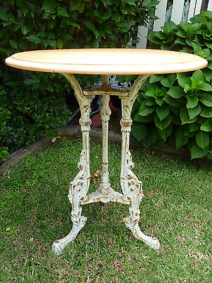 Antique~Vintage~French~Country~Cottage~Ornate~CAST~IRON~Kauri~Pine~Bar~Pub~Table