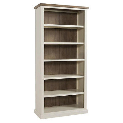 St Ives Painted Large Bookcase / Linen White Tall Bookshelf / Solid Wood Ash Top