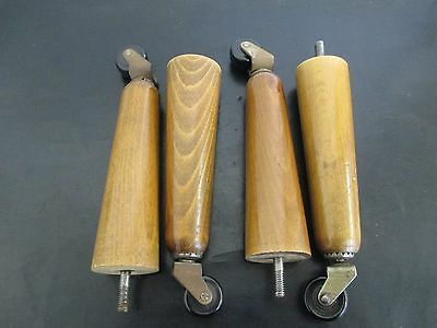 Furniture / Bed Legs on Bakelite Castors - Solid Wood - 15.cm High - Vintage