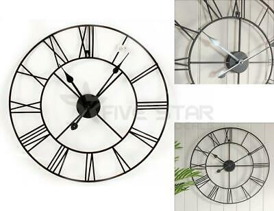 60cm BLACK TRADITIONAL VINTAGE STYLE IRON WALL CLOCK ROMAN NUMERALS HOME DECOR