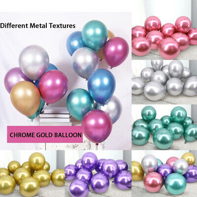 "20 METALLIC LATEX PEARL CHROME BALLOONS 12"" Helium Baloon Happy Birthday Party"