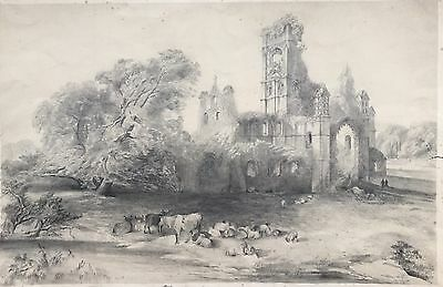 Stunning Antique Pencil Sketch Drawing Landscape Church Cathedral Cattle 50cm