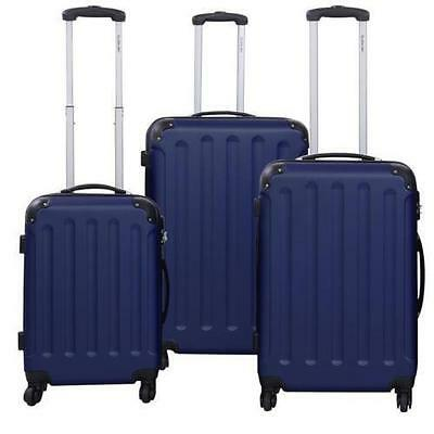 GLOBALWAY 3 Pcs Luggage Travel Set Bag ABS PC Trolley Suitcase Blue