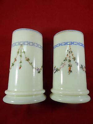 Pair Of Antique Bohemian Harrach Opaque Glass & Hand Painted Enameled Vases