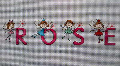 Stunning completed Girls Fairy Cross Stitch Name Sampler