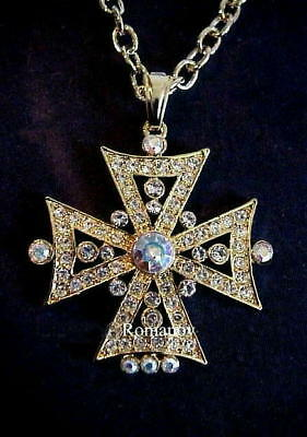 "Russian Imperial ""Empress Alexandra"" Orthodox Cross necklace signed:ROMANOV"
