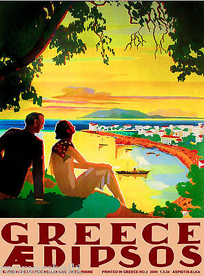 Greece Greek Aedipsos Europe European Vintage Travel Advertisement Poster