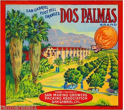 San Gabriel Dos Palmas Mission Orange Citrus Fruit Crate Label Art Print