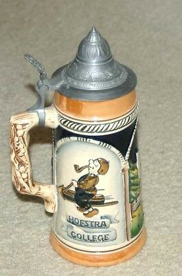 Vintage 1952 Eric Mihan Hofstra College Antique University Stein Mug With Lid