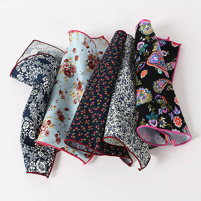 Handmade Mens Suits Pocket Square Floral Cotton Hankies Man Wedding Casual Suit