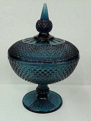 Vintage Blue Decorative Glass Bonbon Dish