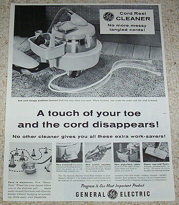 1960 advertising - General Electric vacuum cleaners GE Bridgeport Connecticut AD