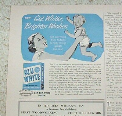 1952 vintage ad - BLU-WHITE Laundry soap BLUE artwork Baby OLD print AD