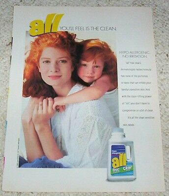 1995 vintage ad - ALL Laundry Soap detergent CUTE GIRL Lever Bros AD