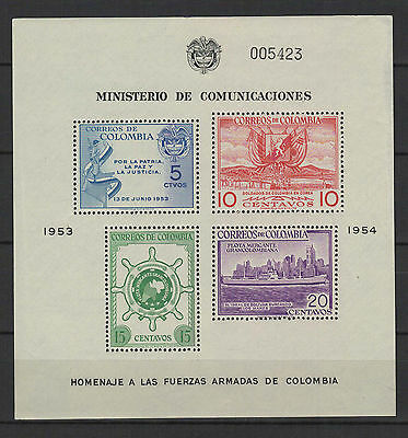 COLOMBIE 1954/55  feuillet 4 timbres neufs /B5Bar2