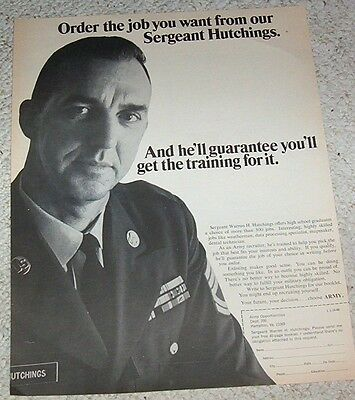 1968 ad page - U.S. Army Hutchings military recruiting vintage PRINT Advertising