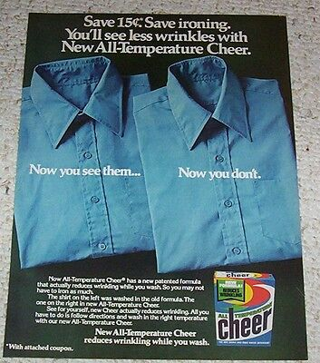 1979 vintage ad - CHEER Laundry soap detergent - less wrinkles PRINT ADVERT