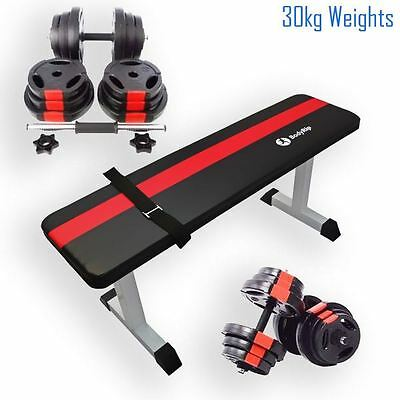 BodyRip Flat Exercise Bench with Complete 20Kg Tri Grip Vinyl Dumbbell Set