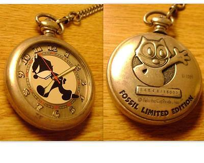 Felix The Cat FOSSIL LTD Edition 4548/15000 Pocket Watch! Serviced! New Battery