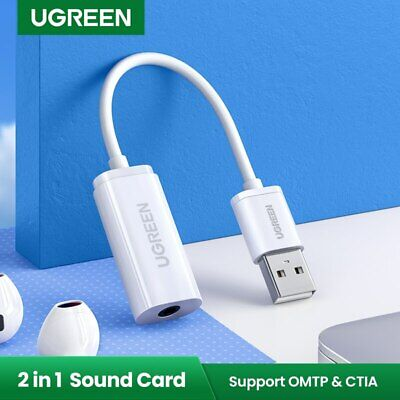 UGREEN External USB Audio Sound Card Mic Adapter Speaker 3.5mm Stereo for PS4