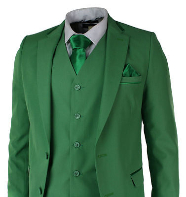 Green 3 Pieces Notch Lapel Groomsman Tuxedos Best Man Formal Wedding Prom Suits+