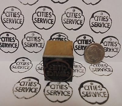 Vintage Cities Service Oil Printing Block Sign Gas Station Motor Oil Display ite
