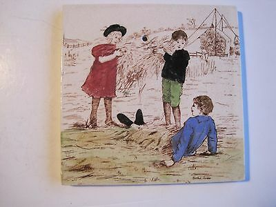 """Antique Victorian T & R Boote """"rosebud Series"""" Tile- Children Playing In Hay"""