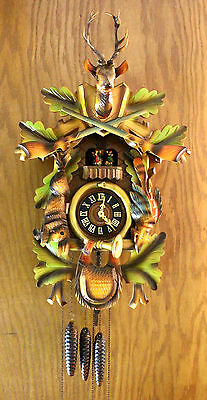 """Large Rare 24"""" West Germany Black Forest Wooden 1 Day 3 Weight Cuckoo Clock"""